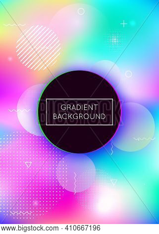 Holographic Background With Liquid Shapes. Dynamic Bauhaus Gradient With Memphis Fluid Elements. Gra
