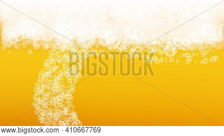 Splash Beer. Background For Craft Lager. Oktoberfest Foam. German Pint Of Ale With Realistic White B