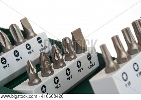 Set Of Replacement Tips For A Screwdriver Isolated On A White Background