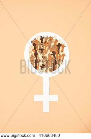 Gender Sign Of A Woman In Support Of Gender Equality. Female Gender Sign On A Yellow Background In S