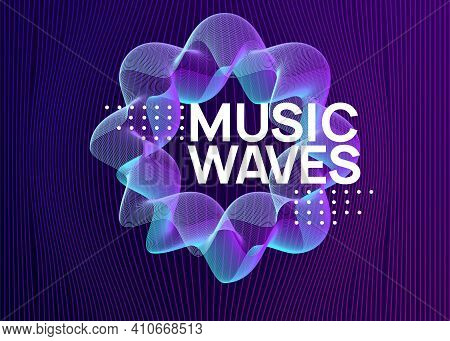 Electronic Event. Cool Concert Banner Concept. Dynamic Fluid Shape And Line. Neon Electronic Event.