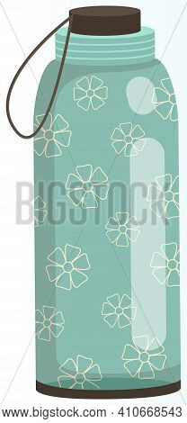 Vacuum Thermo Bottle With Lid And Handle Vector Illustration. Durable And Reusable Water Bottle Isol
