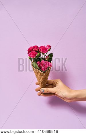 Girl Holding A Beautiful Bouquet In Her Hands Near A Pink Background. Womans Hand Holding A Beautifu