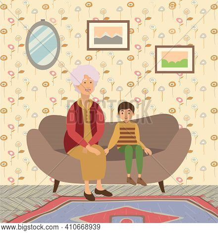 Happy Family Portrait Vector Character Illustration. Grandmother And Grandson Sitting On The Couch T