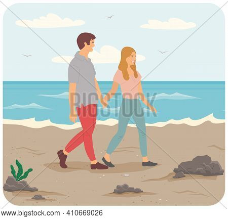 Characters Are Resting Near Ocean Bank. People On Date Spending Time Together On Beach. Young Couple