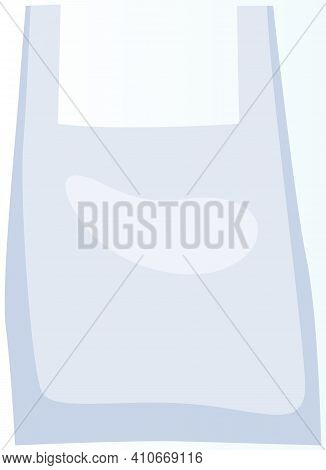 Plastic Bag T-shirt For Transferring Products. Transparent Container With Handles. Non-recyclable, H