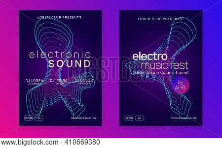 Sound Flyer. Dynamic Gradient Shape And Line. Creative Show Magazine Set. Neon Sound Flyer. Electro