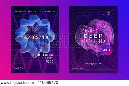 Electronic Poster. Cool Show Invitation Set. Dynamic Fluid Shape And Line. Neon Electronic Poster. E