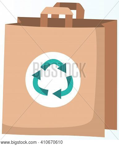 Ecological Bag With Recycling Symbol. Eco-friendly Container For Carrying Items Vector Illustration.