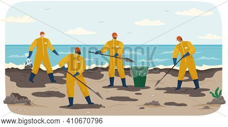 Ecology Problems And Global Pollution Concept. Volunteer People Are Cleaning Beach. People In Protec