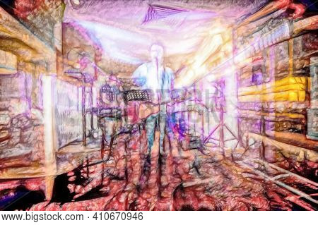 Digital Art Abstract Of A Band Of Musicians In A Small Venue