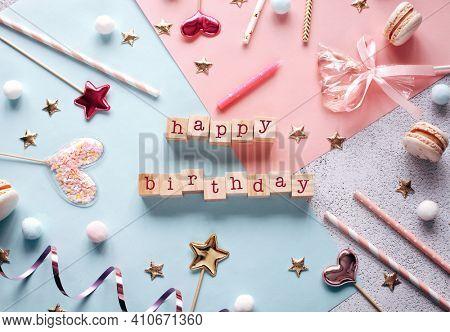 Happy birthday greeting card template. Cute Birthday background.