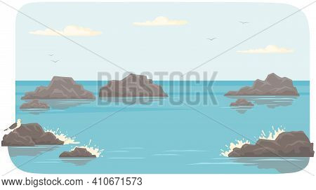 Landscape With Salty Water On Seashore. Waves Hit Rocks And Spray Scatters. Water Surface Of Sea Wit