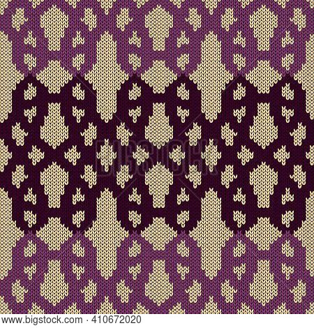Geometrical Ornate Seamless Knitted Vector Pattern As A Fabric Texture In Magenta And Muted Pink Col