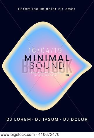 Music Poster. Fluid Holographic Gradient Shape And Line. Electronic Sound. Night Dance Lifestyle Hol