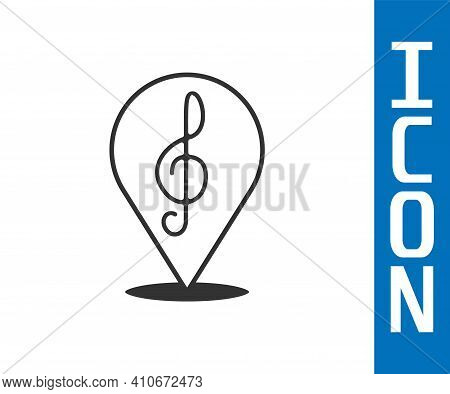 Grey Treble Clef Icon Isolated On White Background. Vector