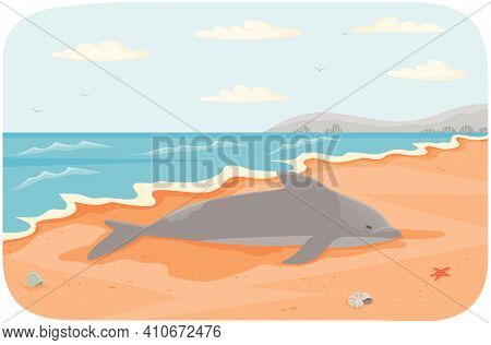 Marine Mammal Living In Water Vector Illustration. Dolphin Lies On Sandy Beach Near Ocean. Seascape