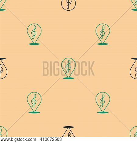 Green And Black Treble Clef Icon Isolated Seamless Pattern On Beige Background. Vector
