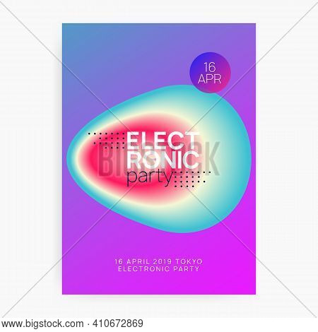 Music Flyer. Fluid Holographic Gradient Shape And Line. Electronic Sound. Night Dance Lifestyle Holi