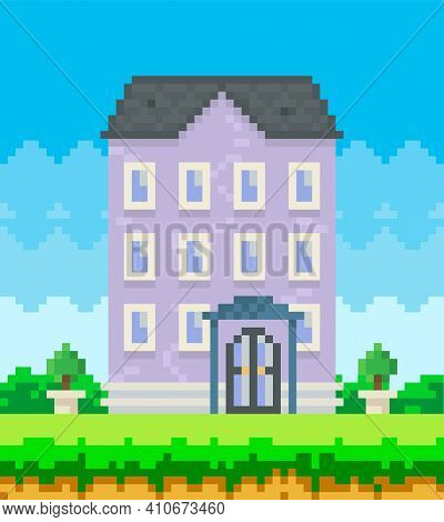 House Surrounded By Green Spaces And Plants. Apartment Building With Many Windows For Pixel Game. Pa