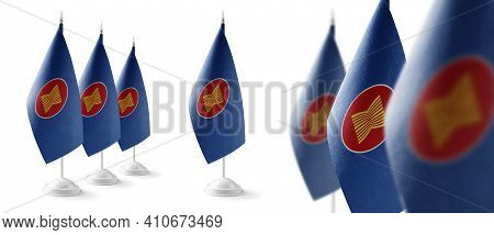 Set Of Asean National Flags On A White Background