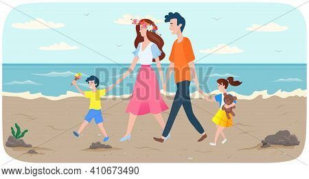Family Is Walking On Shore. People Are Spending Time Together On Sandy Beach. Parents And Children W