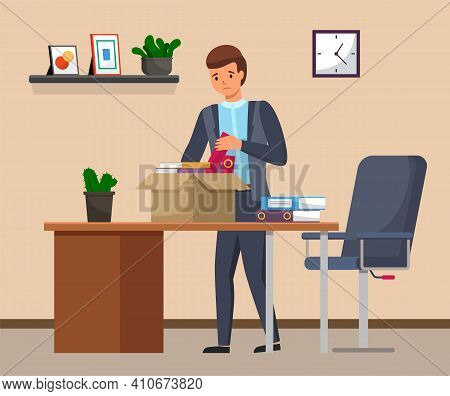 Layoff Concept. Boss Dismissed Employee. Unhappy Fired Man Leave The Office With Things In Box. Unem