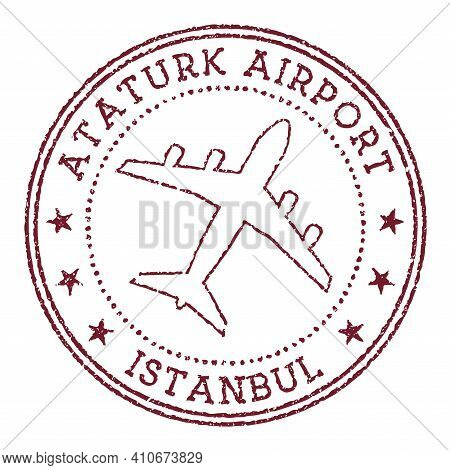 Ataturk Airport Istanbul Stamp. Airport Of Istanbul Round Logo. Vector Illustration.