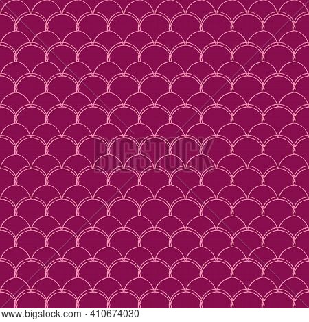 Girl Mermaid Seamless Pattern. Pink Fish Skin Backdrop. Tillable Background For Girl Fabric, Textile