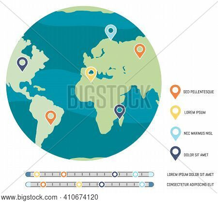 Planet With Map Marks. Level Of Environmental Problems On Earth. Map Legend With Colorful Symbols Ve