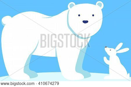 Walking Or Standing Polar Bear In Arctic. Little White Rabbit Is Looking At Large Mammal With Thick