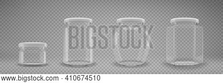 A Set Of Glass Jam Jars With Lids. A Transparent Jar With A White Lid. Realistic 3d Illustration. Ve