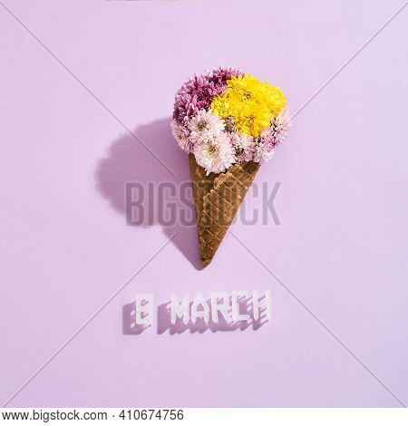 Beautiful Bouquet Of Flowers Lying On A Pink Background. Beautiful Bouquet For March 8 As A Gift For