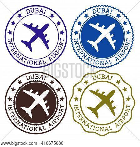 Dubai International Airport. Dubai Airport Logo. Flat Stamps In Material Color Palette. Vector Illus
