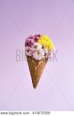 Bouquet With Flowers On A Pink Background. Large Bouquet Of Flowers For Mom On March 8. Bouquet With