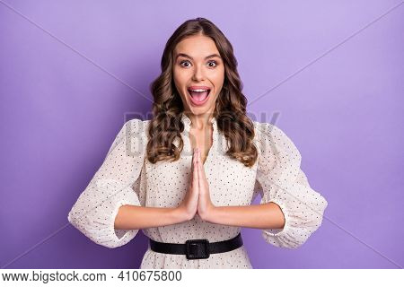 Photo Of Young Pretty Charming Excited Crazy Amazed Girl Hold Hand In Player Anticipation Isolated O