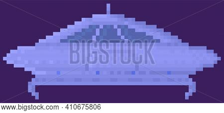 Unidentified Flying Object In Outer Space. Spaceship On Dark Purple Background. Flattened Flying Sau