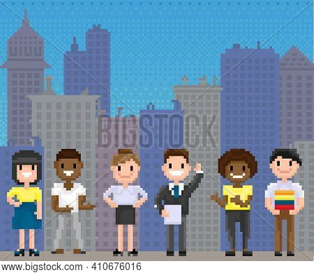 Pixel People For Old Game Layout Stand Against Background Of Cityscape With Skyscraper Silhouettes.