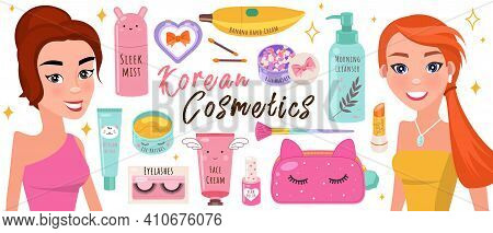 Korean Cosmetics Skin Care Banner With Two Beautiful Girls And Cosmetic Accessories. Beauty Poster W