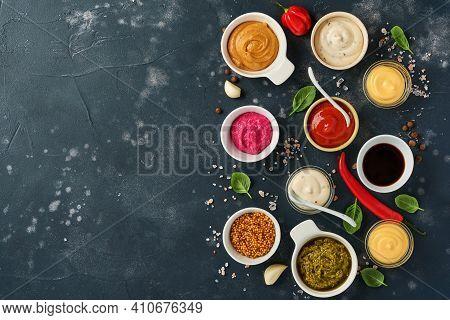 Set Of Sauces In Bowls - Ketchup, Mayonnaise, Mustard, Soy Sauce, Bbq Sauce, Pesto, Chimichurri, Mus