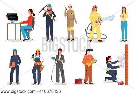 Woman Worker Set, Coder Or Programmer, With Pickaxe, Industrial Worker With Walkie Talkie, Female Fi
