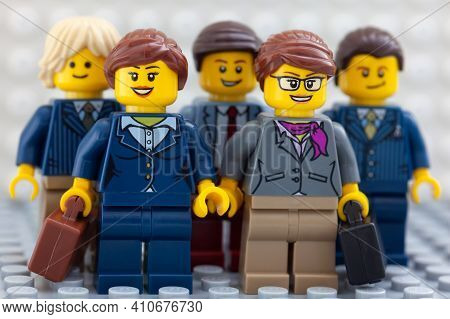 Tambov, Russian Federation - February 26, 2021 Lego Businesspeople Minifigures Standing And Looking