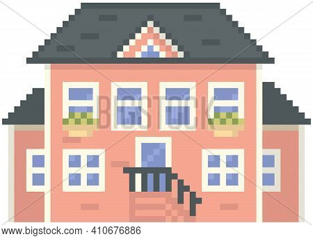 House Isolated On White. Pixelated Apartment Building With Many Windows For Pixel Game Design. Panor