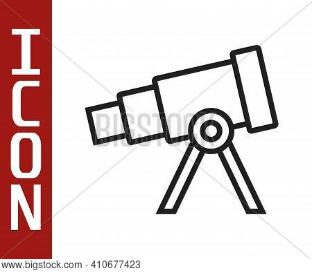 Black Line Telescope Icon Isolated On White Background. Scientific Tool. Education And Astronomy Ele