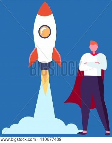 Super Hero Businessman Standing In Red Cloak Near The Rocket Ready To Take Off On Blue Background. S