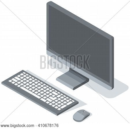 Vector Modern Desktop Computer With Blank Gray Widescreen Monitor, Wireless Keyboard And Mouse Isola
