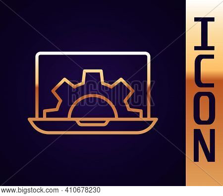Gold Line Software, Web Development, Programming Concept Icon Isolated On Black Background. Programm