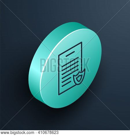 Isometric Line Firearms License Certificate Icon Isolated On Black Background. Weapon Permit. Turquo