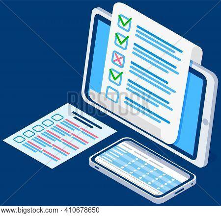 Educational Test, Questionnaire Vector Illustration. Online Exam Concept. Completed Survey Checklist