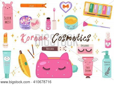 Vector Beauty Set. Makeup Cosmetics Tools And Korean Cosmetics. Beauty Products Collection.toner, Cr